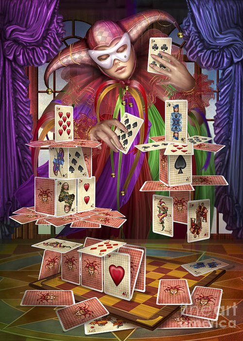 House Of Cards Greeting Card featuring the digital art House Of Cards by Ciro Marchetti