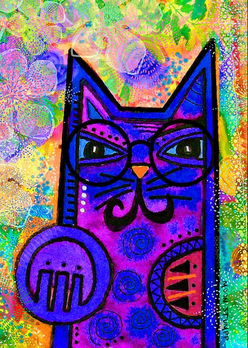Moon Stumpp Greeting Card featuring the painting House Of Cats Series - Paws by Moon Stumpp