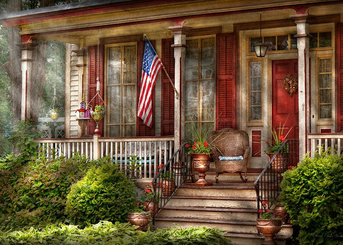 Victorian Greeting Card featuring the photograph House - Porch - Belvidere Nj - A Classic American Home by Mike Savad