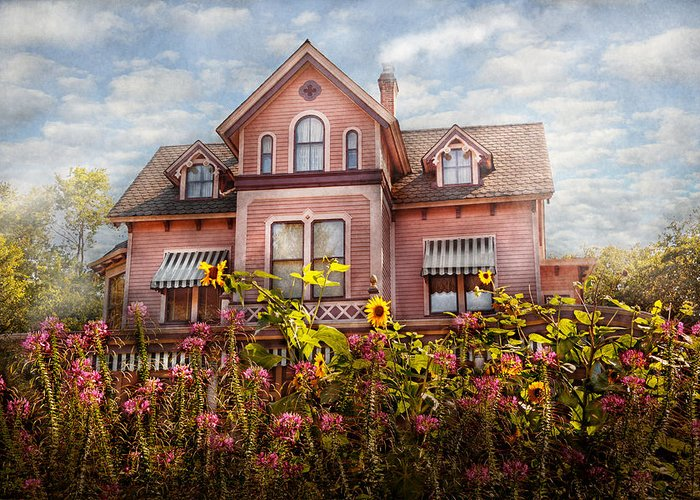 Pink Greeting Card featuring the photograph House - Victorian - Summer Cottage by Mike Savad