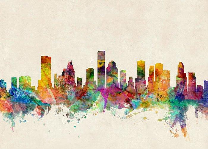 Watercolour Greeting Card featuring the digital art Houston Texas Skyline by Michael Tompsett