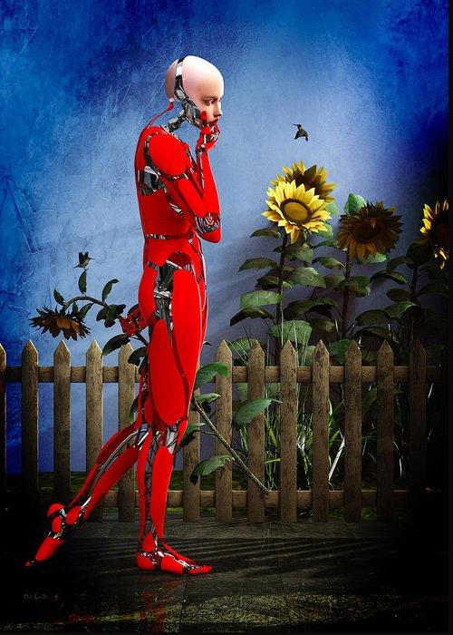 Robot Greeting Card featuring the digital art Hummingbirds by Bob Orsillo