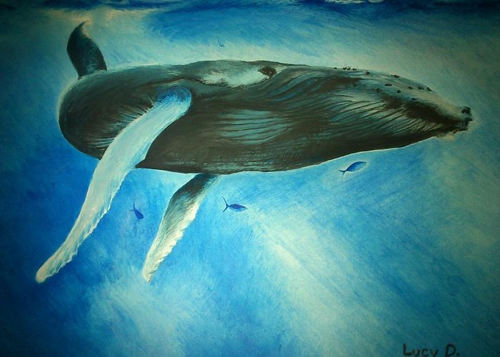Nature Greeting Card featuring the painting Humpback Whale by Lucy D