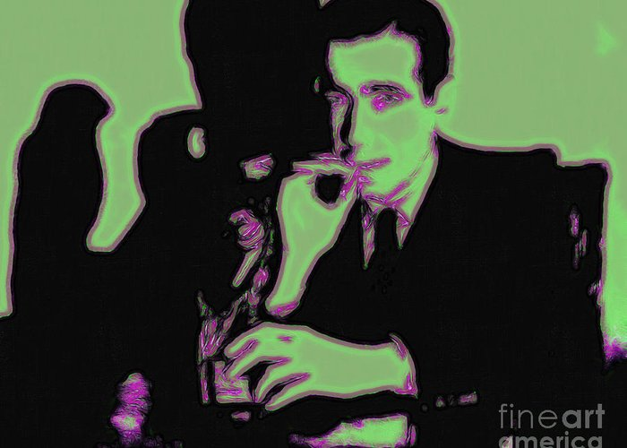 Celebrity Greeting Card featuring the photograph Humphrey Bogart And The Maltese Falcon 20130323 by Wingsdomain Art and Photography