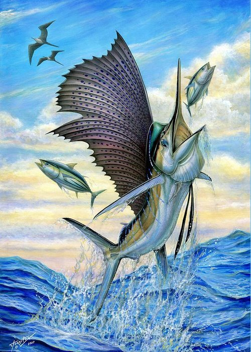 Small Tuna Greeting Card featuring the painting Hunting Of Small Tunas by Terry Fox