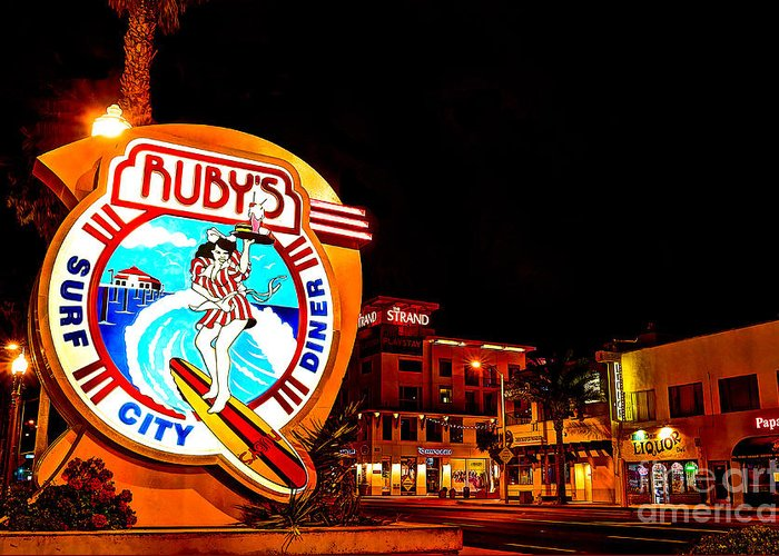 Huntington Beach Greeting Card featuring the photograph Huntington Beach Downtown Nightside 2 by Jim Carrell