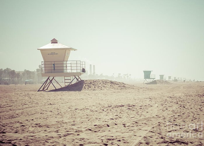 1950s Greeting Card featuring the photograph Huntington Beach Lifeguard Tower #1 Retro Photo by Paul Velgos