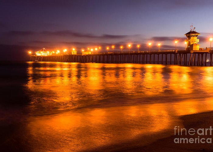 America Greeting Card featuring the photograph Huntington Beach Pier At Night by Paul Velgos