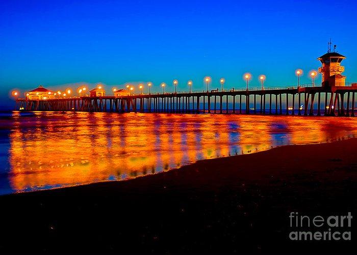 Huntington Beach Pier Greeting Card featuring the photograph Huntington Beach Pier - Nightside by Jim Carrell
