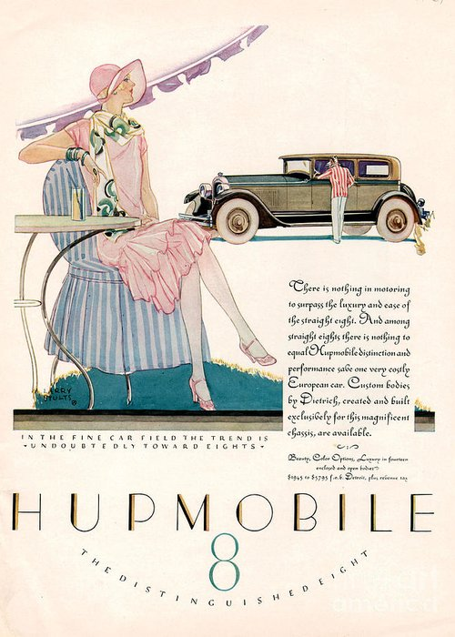 Adverts Greeting Card featuring the drawing Hupmobile 1927 1920s Usa Cc Cars by The Advertising Archives