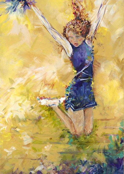 Cheer Team Greeting Card featuring the painting Hurrah by Karen Ahuja