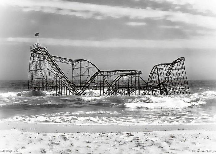 Hurricane Sandy Photographs Greeting Card featuring the photograph Hurricane Sandy Jetstar Roller Coaster Black And White by Jessica Cirz