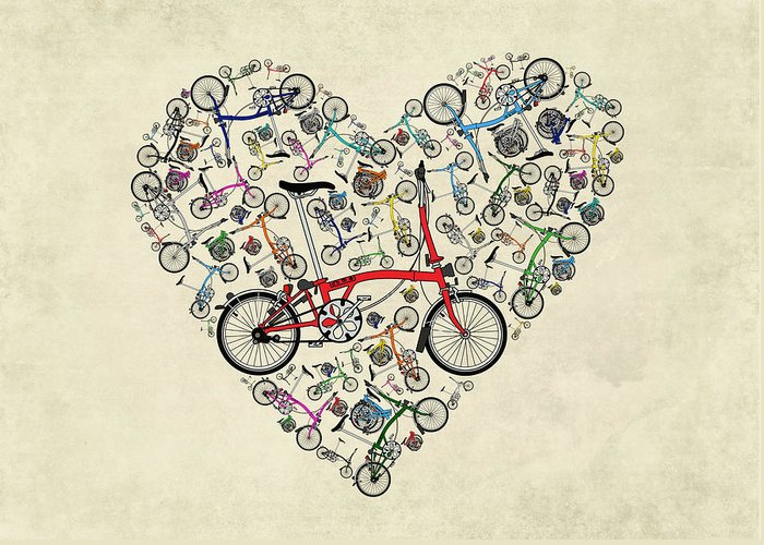 Bike Greeting Card featuring the mixed media I Love My Brompton by Andy Scullion