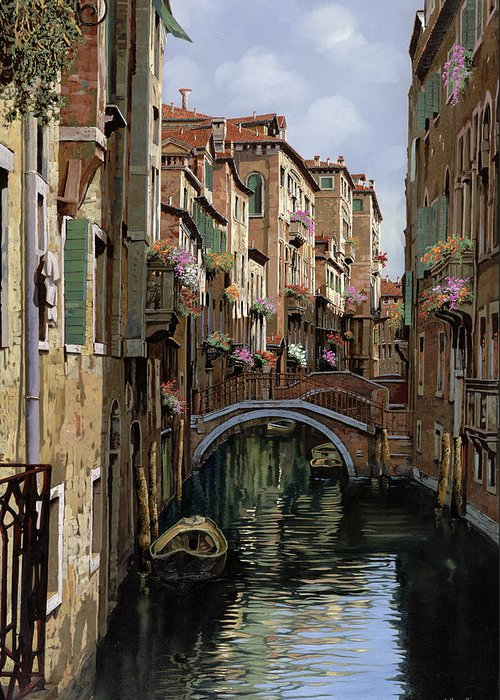Venice Greeting Card featuring the painting I Ponti A Venezia by Guido Borelli
