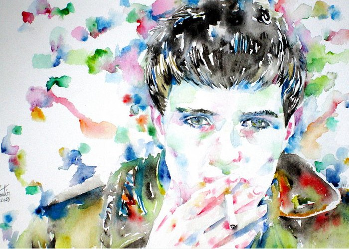 Ian Greeting Card featuring the painting Ian Curtis Smoking Cigarette Watercolor Portrait by Fabrizio Cassetta