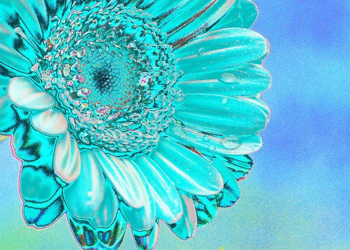 Blue Greeting Card featuring the digital art Ice Blue by Carol Lynch