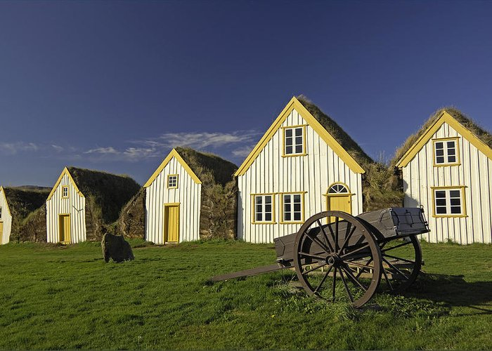 Home Greeting Card featuring the photograph Icelandic Turf Houses by Claudio Bacinello