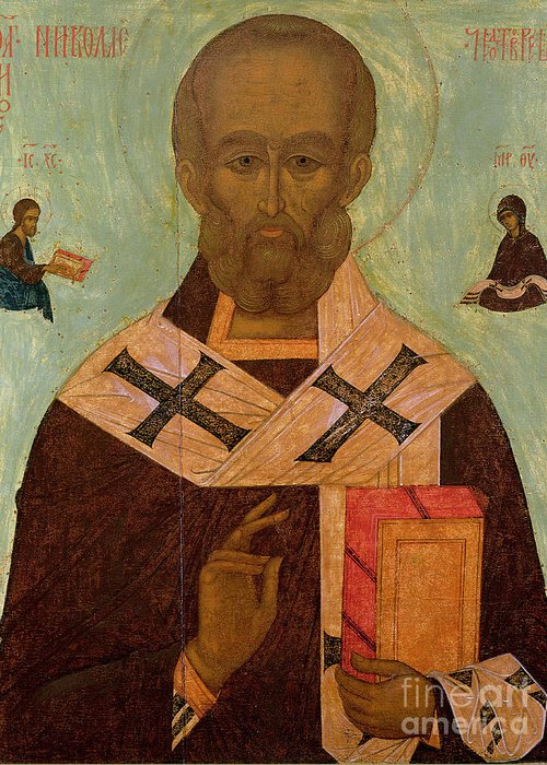 Saint Greeting Card featuring the painting Icon Of St. Nicholas by Russian School