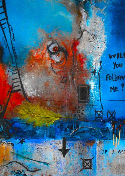 Abstract Greeting Card featuring the painting If I Ask by Mirko Gallery