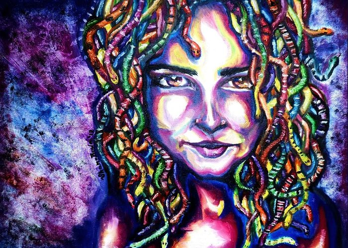 Medusa Greeting Card featuring the painting If Looks Could Kill by Shana Rowe Jackson