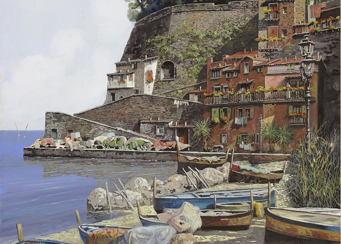 Italy Greeting Card featuring the painting il porto di Sorrento by Guido Borelli