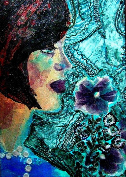 Mixed Media Portrait Greeting Card featuring the mixed media Ilana by Diane Fine