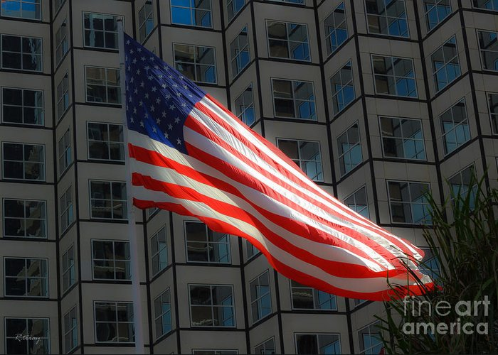 American Flag Greeting Card featuring the photograph I'll Love You Long After Im Gone by Rene Triay Photography