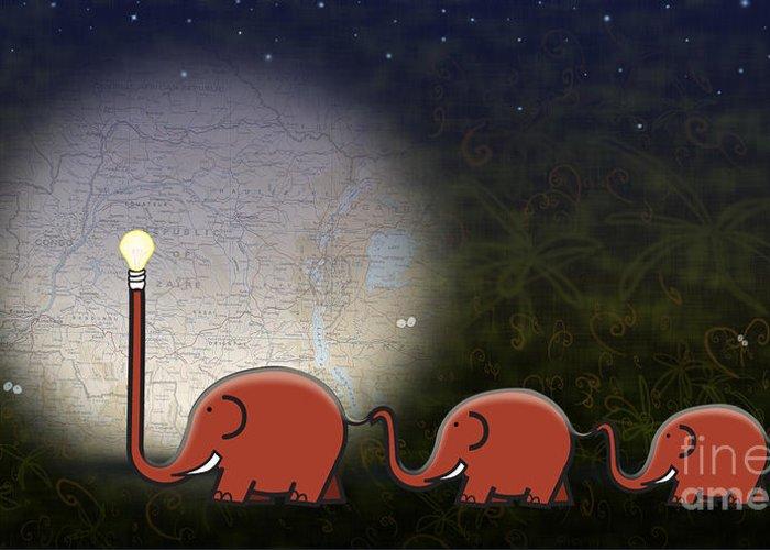 Elephant Greeting Card featuring the digital art Illumination by Sassan Filsoof