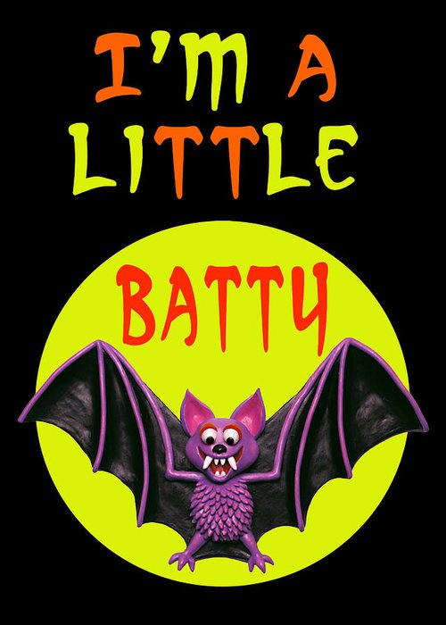 Halloween Cards Greeting Card featuring the digital art I'm A Little Batty by Amy Vangsgard