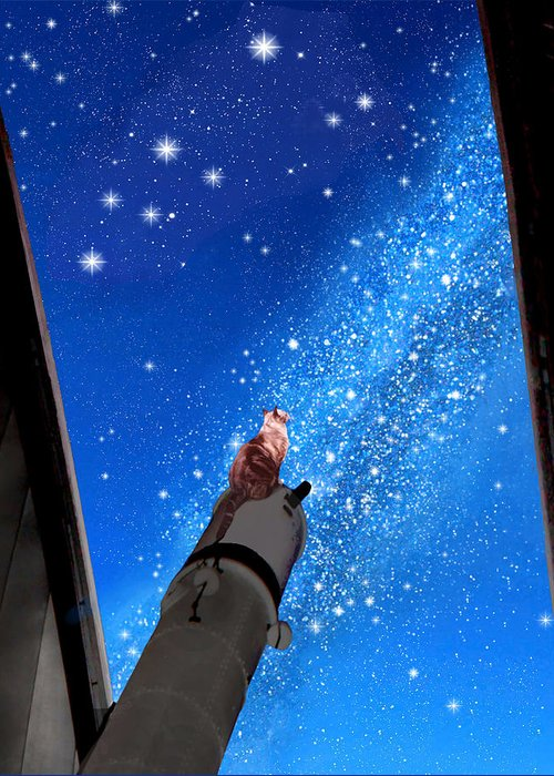 Andromeda Greeting Card featuring the digital art In Awe Of Andromeda And The Milky Way by Kathleen Horner