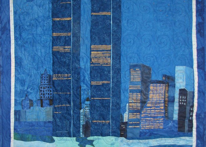 Twin Towers Greeting Card featuring the tapestry - textile In Deep Thought by Aisha Lumumba