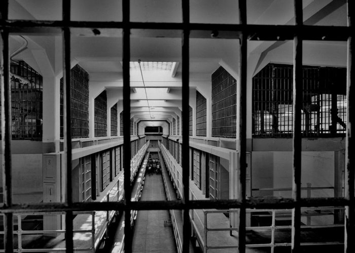 Alcatraz Greeting Card featuring the photograph In The Clink by Benjamin Yeager