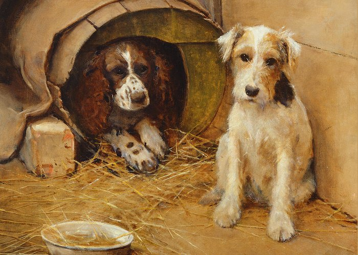 Dog Greeting Card featuring the painting In The Dog House by Samuel Fulton