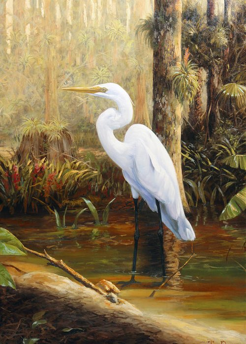 Great Greeting Card featuring the painting In The Shallows by Tim Davis