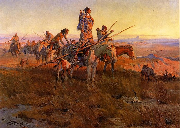 In The Wake Of The Buffalo Hunters Greeting Card featuring the digital art In The Wake Of The Buffalo Hunters by Charles Russell