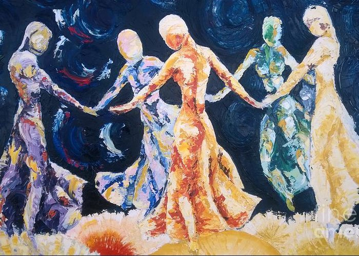 Women Greeting Card featuring the painting In Their Midst by Rhonda Falls