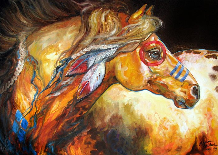 Horse Greeting Card featuring the painting Indian War Horse Golden Sun by Marcia Baldwin