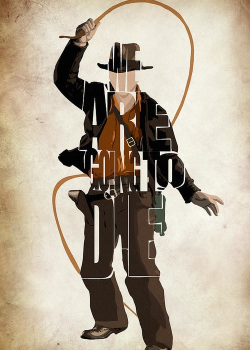 Indiana Jones Greeting Card featuring the drawing Indiana Jones Vol 2 - Harrison Ford by Ayse Deniz