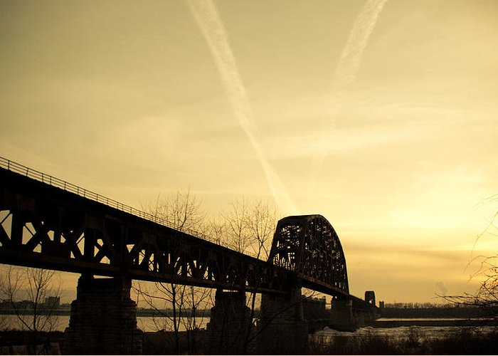 Jeffersonville Greeting Card featuring the photograph Indiana Ky Bridge by Off The Beaten Path Photography - Andrew Alexander