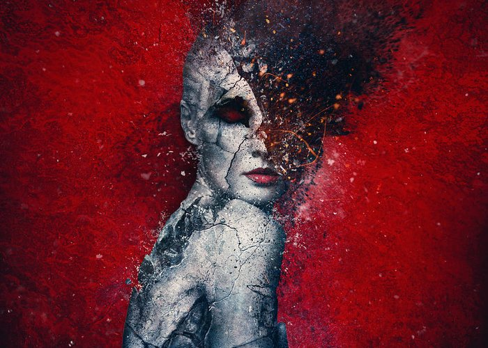 Red Greeting Card featuring the digital art Indifference by Mario Sanchez Nevado