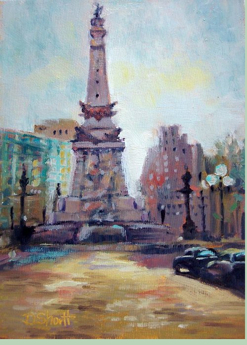 Indianapolis Greeting Card featuring the painting Indy Circle Back-lit by Donna Shortt