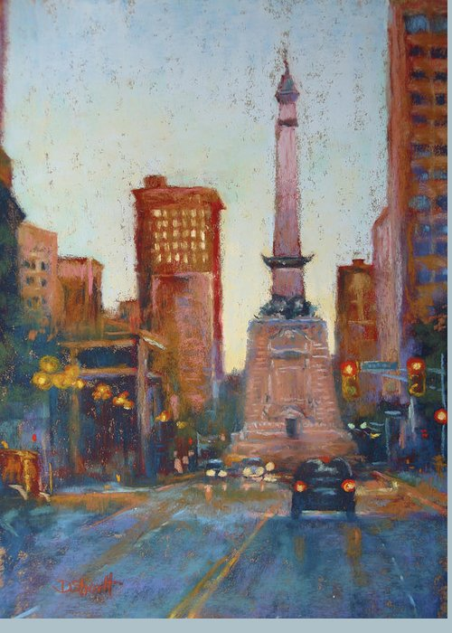 Indianapolis Greeting Card featuring the painting Indy Circle- Twilight by Donna Shortt