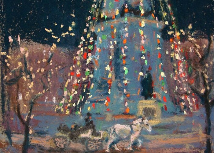Indianapolis Greeting Card featuring the painting Indy Monument Lights by Donna Shortt
