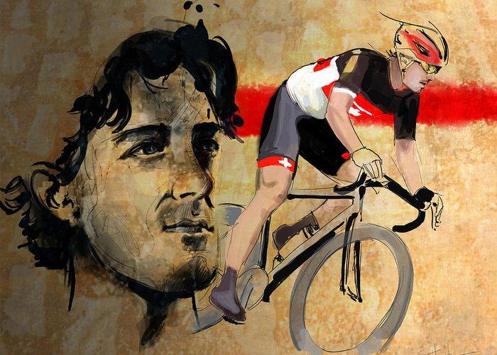 Cancellara Greeting Card featuring the digital art Ink Portrait Illustration Print Of Cycling Athlete Fabian Cancellara by Sassan Filsoof