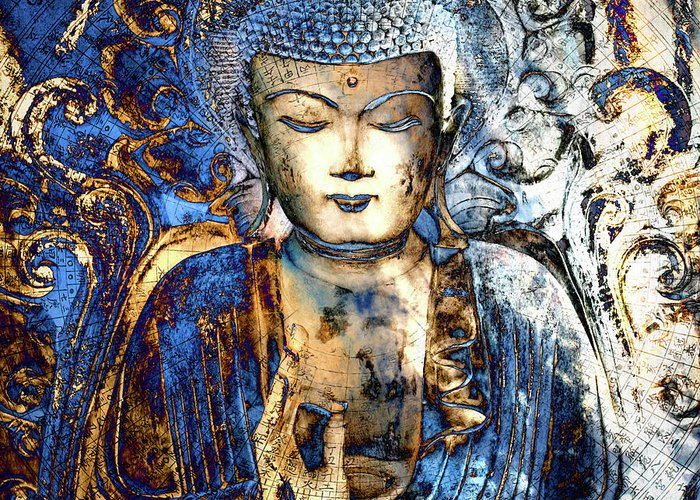 Buddha Greeting Card featuring the digital art Inner Guidance by Christopher Beikmann
