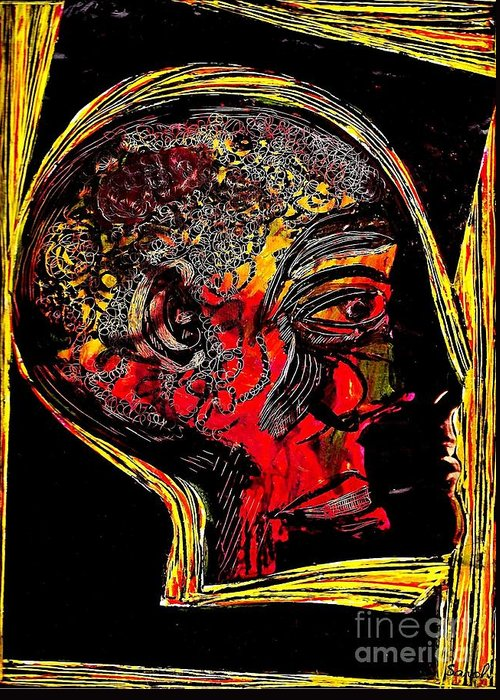 Head Greeting Card featuring the mixed media Inner Man by Sarah Loft