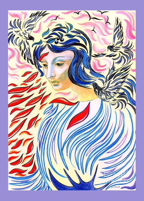 Mystical Greeting Card featuring the painting Inner Peace by Jane Small