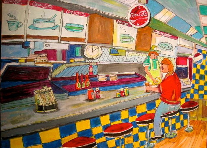 Montreal Greeting Card featuring the painting Inside Paul Patates Montreal Memories by Michael Litvack