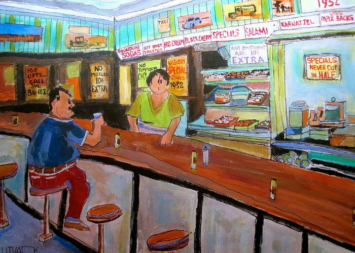 Wilensky's Snack Bar Greeting Card featuring the painting Inside Wilensky's by Michael Litvack