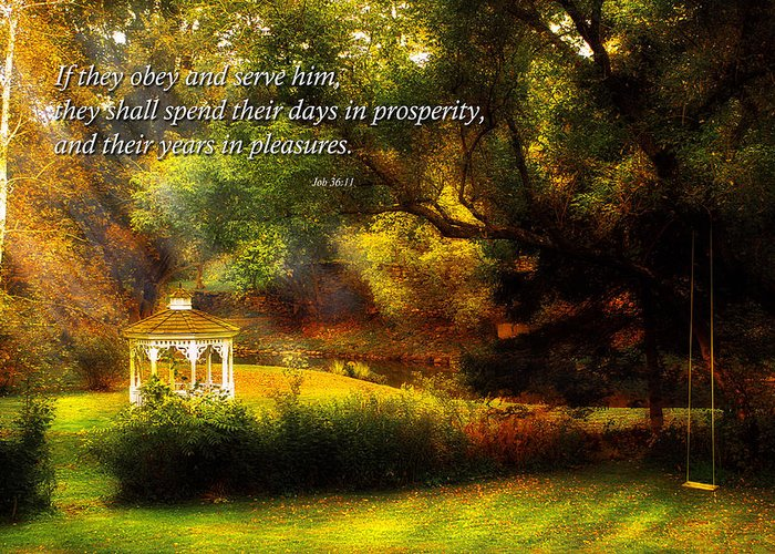 Vermont Greeting Card featuring the photograph Inspirational - Prosperity - Job 36-11 by Mike Savad